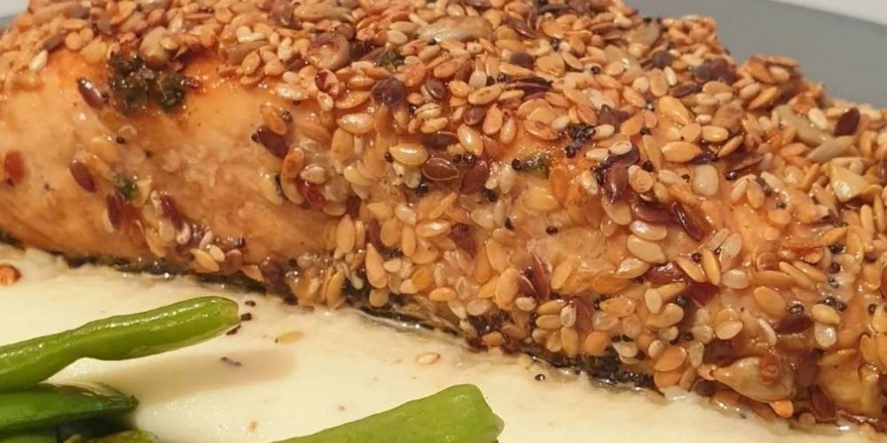 Salmón marinado con semillas receta